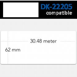 Etiquetas Brother DK-22205 Compatibles. Medidas: 62mm x 30,48 metros. Rollo continuo.