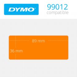 99012O Dymo etiquetas compatibles en color naranja. Medidas: 89x36mm